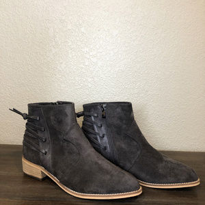 Gray Suede Booties , never worn size 8.5